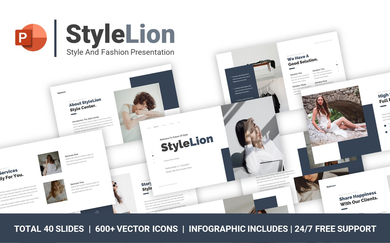 StyleLion Style And Fashion Minimal PowerPoint Template