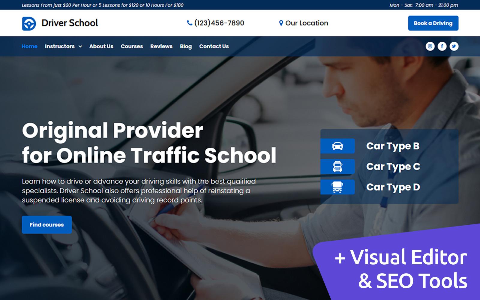 Driving Instructor Premium MotoCMS 3 Website Design