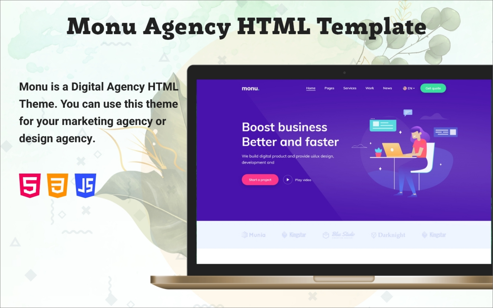 Manu Business Agency HTML Website template