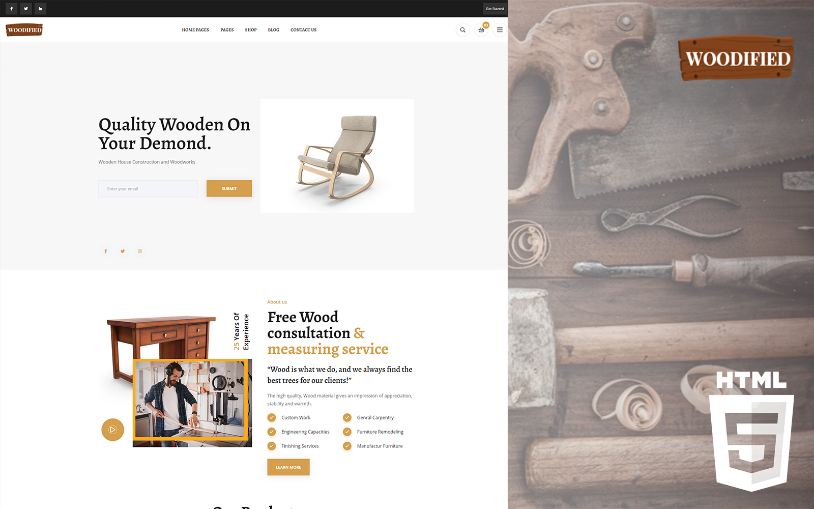 Woodified - Carpentry HTML Website Template