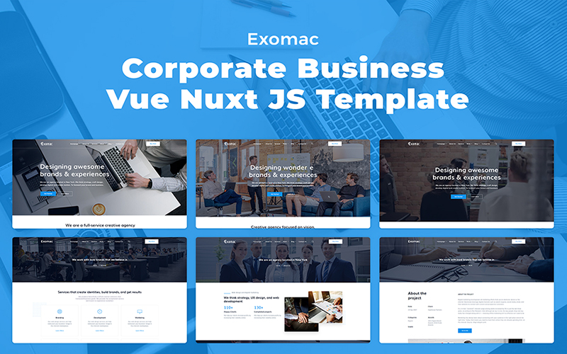 Exomac – Corporate Business Vue Nuxt JS Website Template