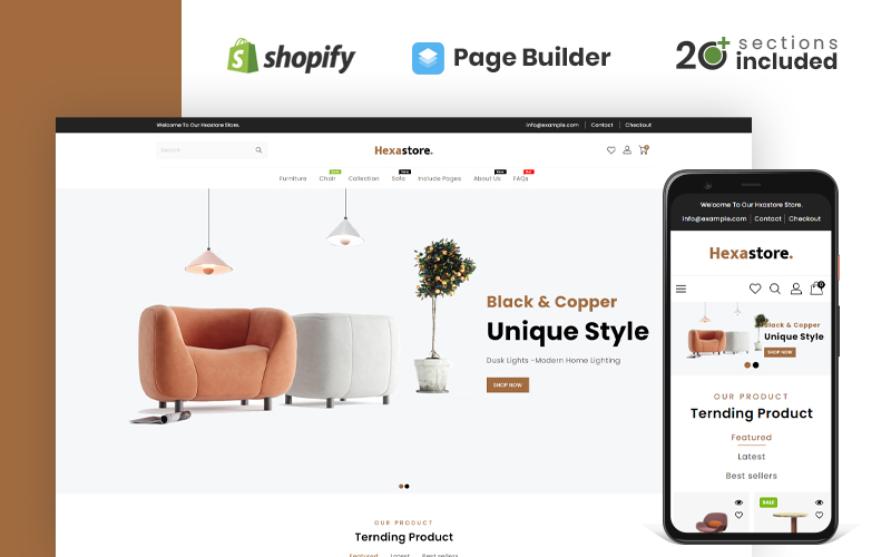 Hexastore Wood And Furniture Store Shopify Theme