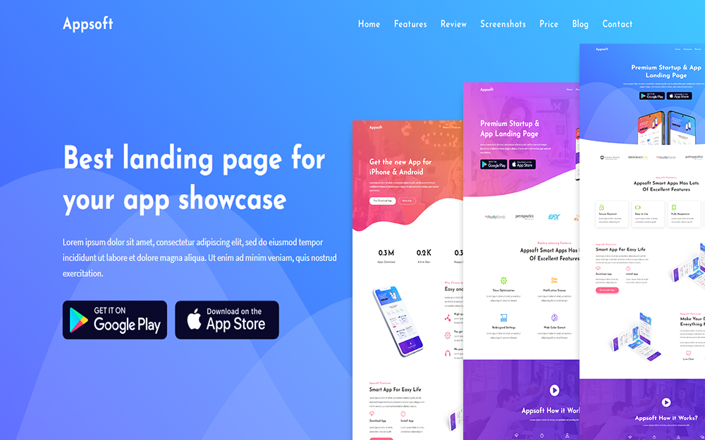 Appsoft - App Landing Page Template