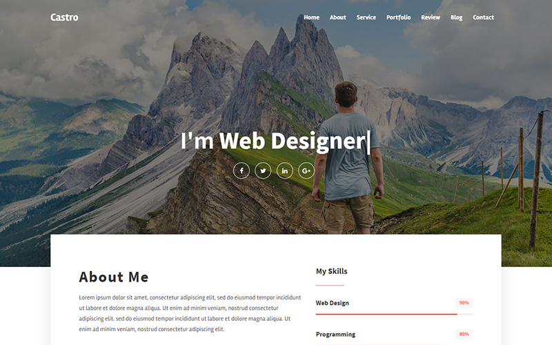 Castro - Personal Portfolio Landing Page Template