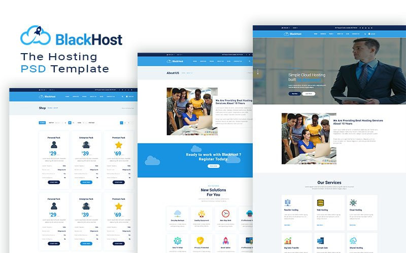 Blackhost -  Multipurpose Hosting Website Template