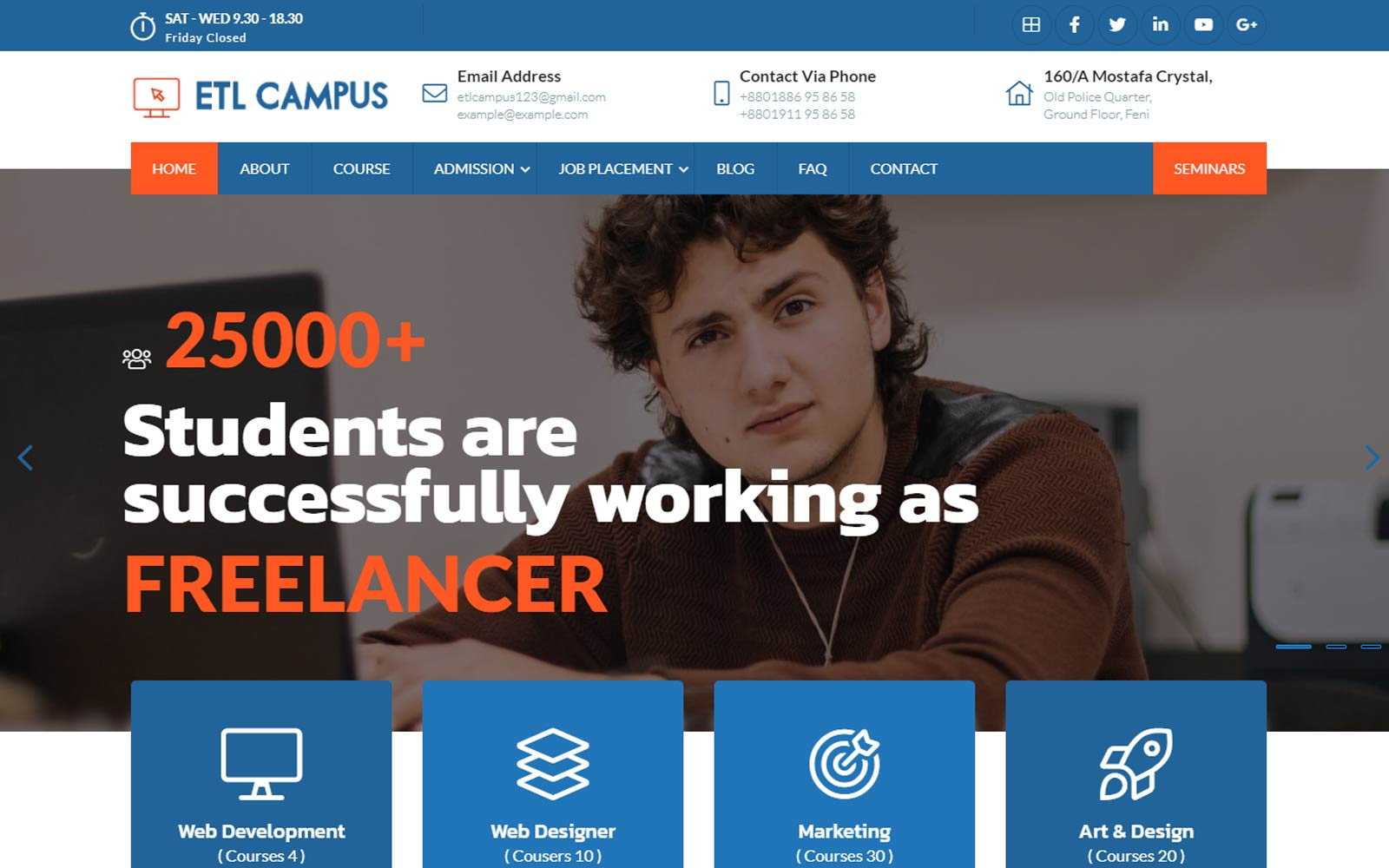 EtlCampus - Online Course & Education Fully Responsive Creative Bootstrap Website template