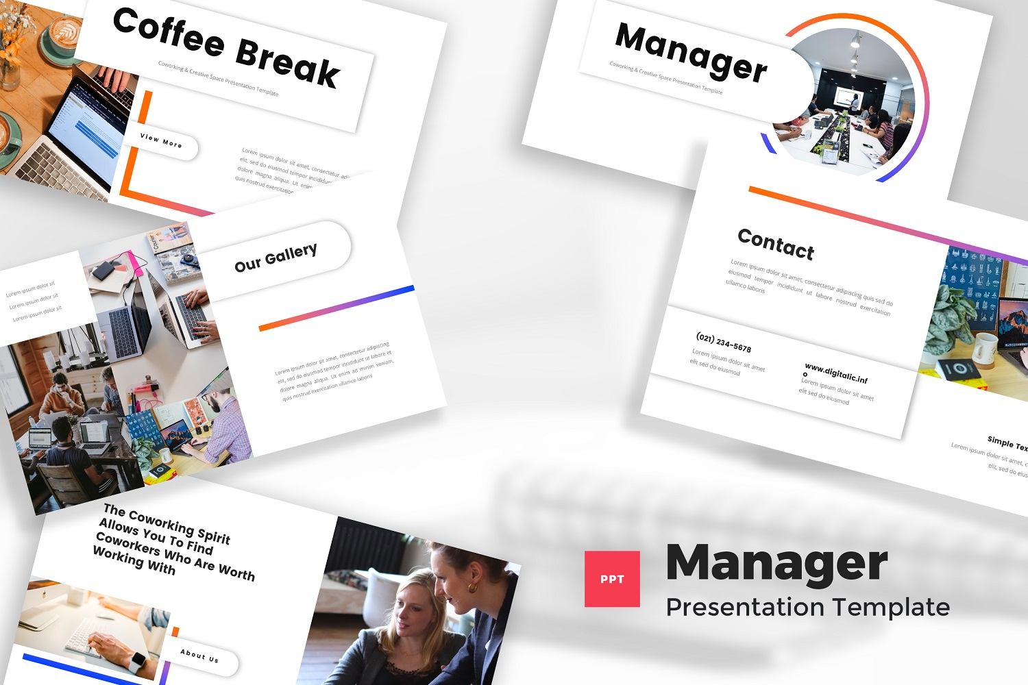 Manager - Co-working & Creative Space Powerpoint Template