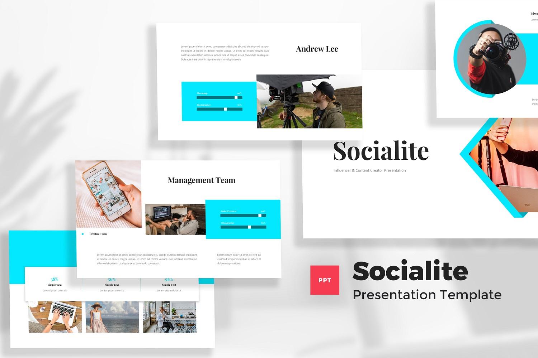 Socialite - Influencer & Content Creator Powerpoint Template