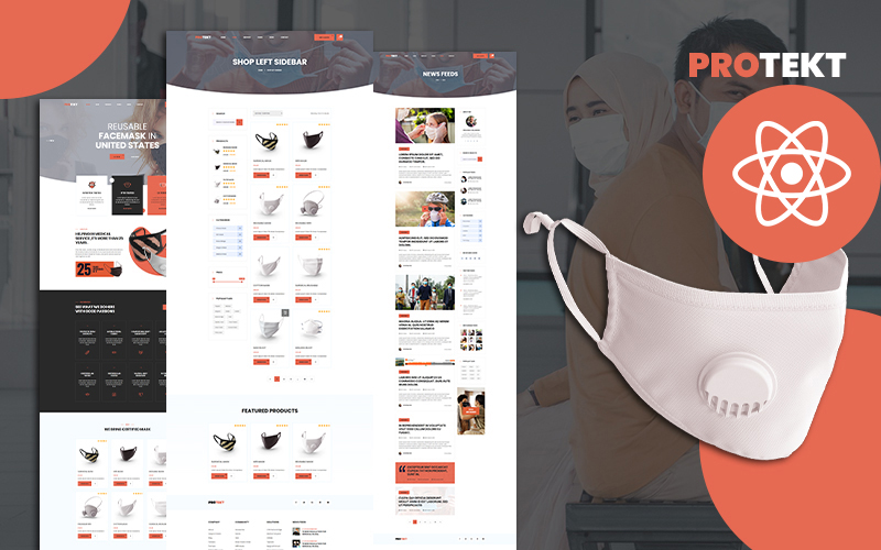 Protekt Medical Face Mask Store React Website Template