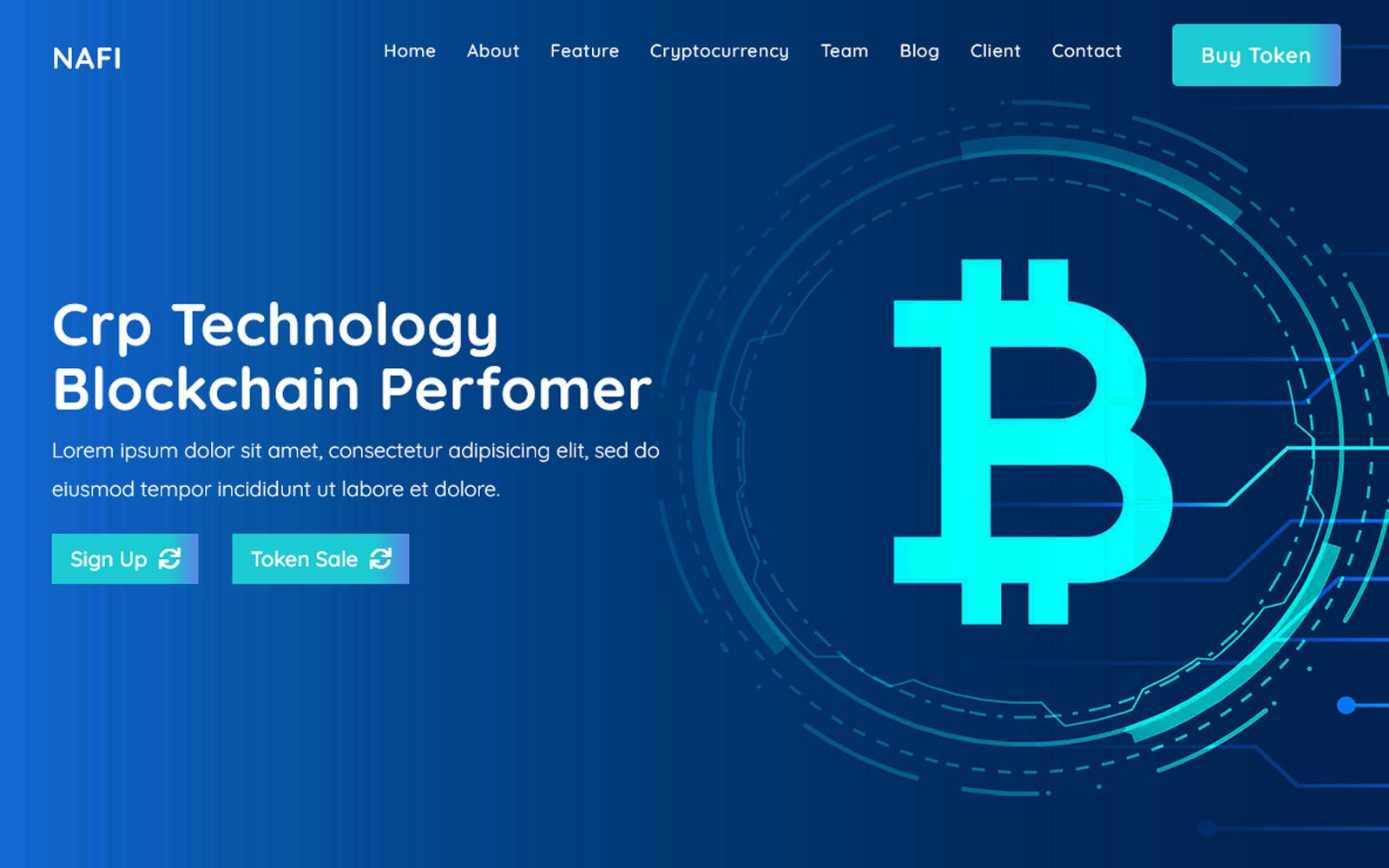 Nafi -  Bitcoin & Cryptocurrency Landing Page HTML Template
