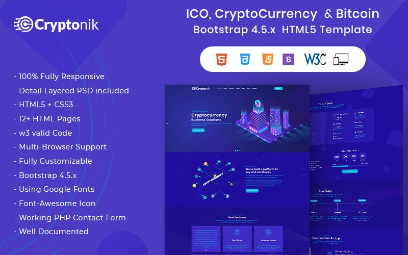 Cryptonik - ICO, Bitcoin and Cryptocurrency HTML Website Template
