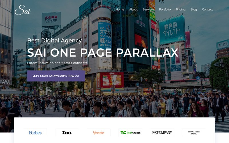 Sai - One Page Parallax HTML Landing Page Template