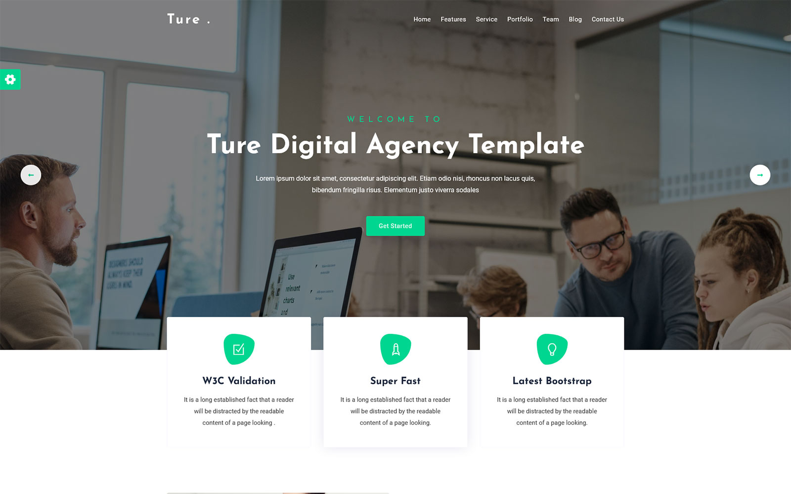 Ture - Digital Agency One Page HTML Landing Page Template
