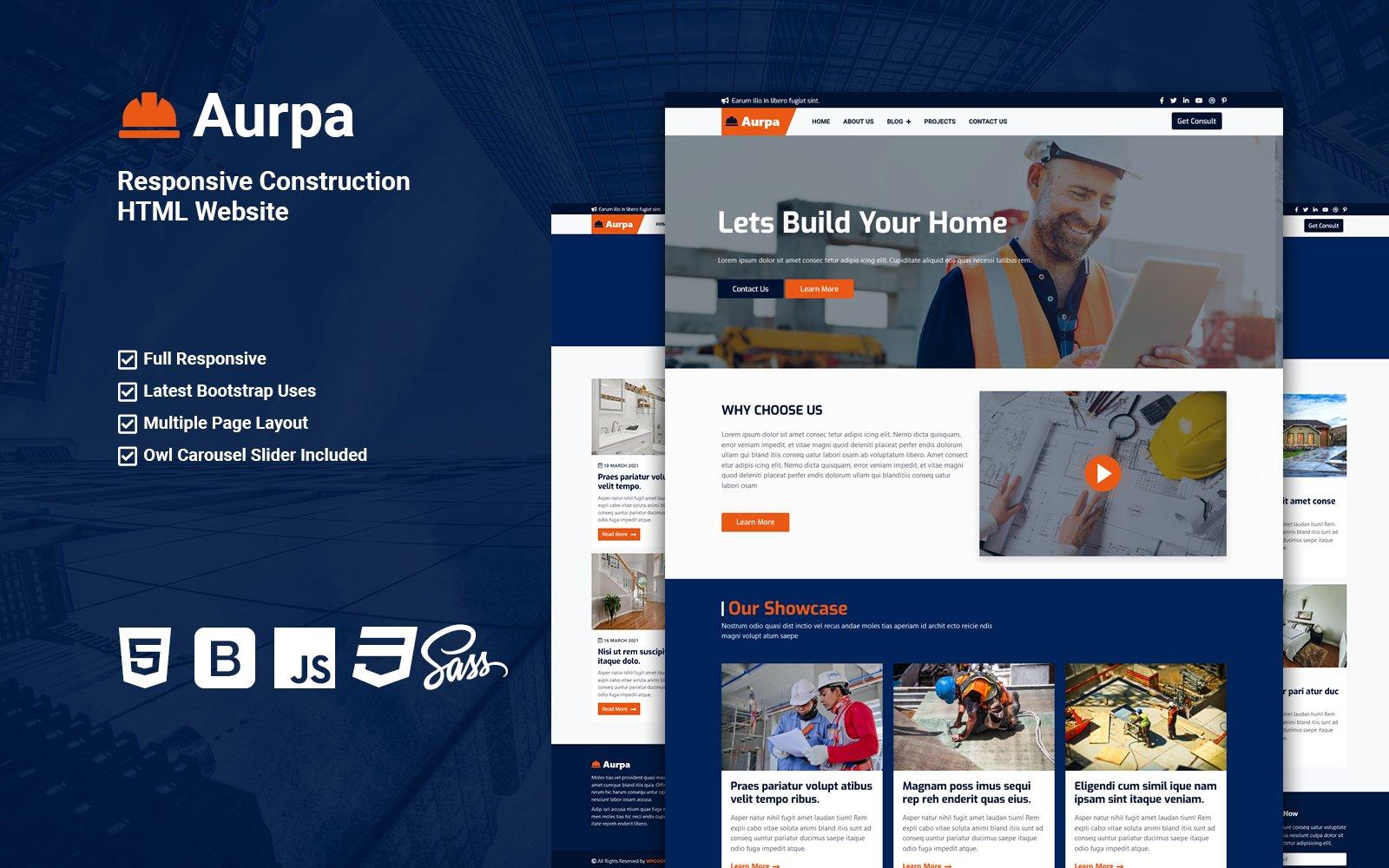 Aurpa - Responsive Construction HTML Website