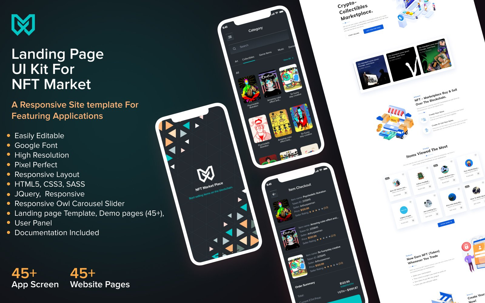 NFT Marketplace HTML5 Website Template and Mobile App Design
