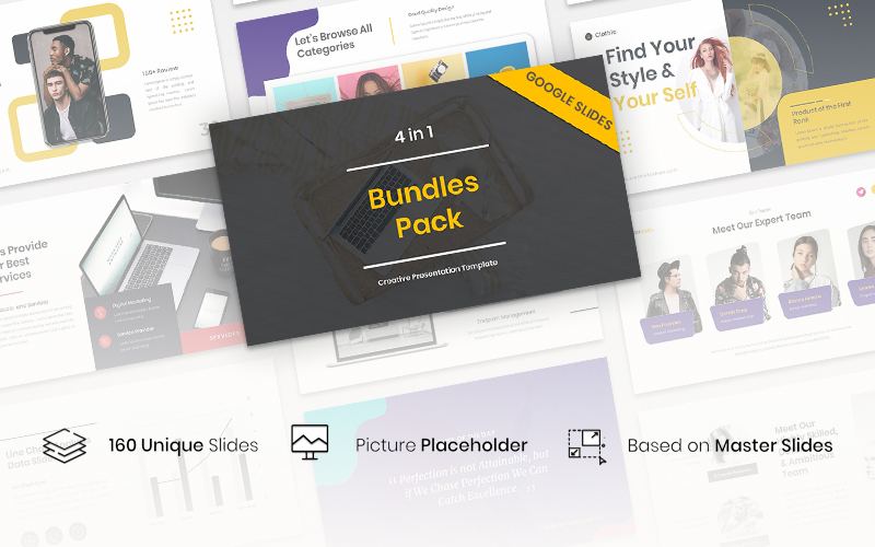 4 in 1 Bundles Pack Creative PowerPoint Template
