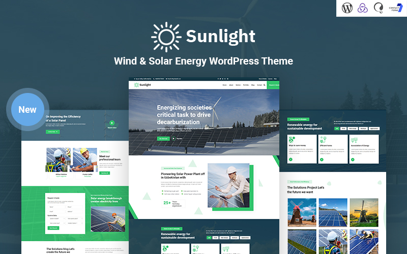Sunlight - Wind and Solar Energy Responsive WordPress Theme
