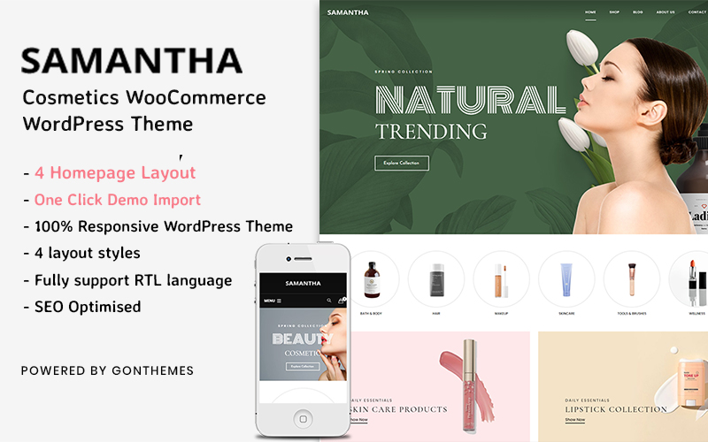 Samantha -  Cosmetics WooCommerce WordPress Theme