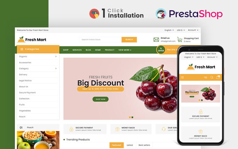 FreshMart Organic & Grocery Store Prestashop Theme