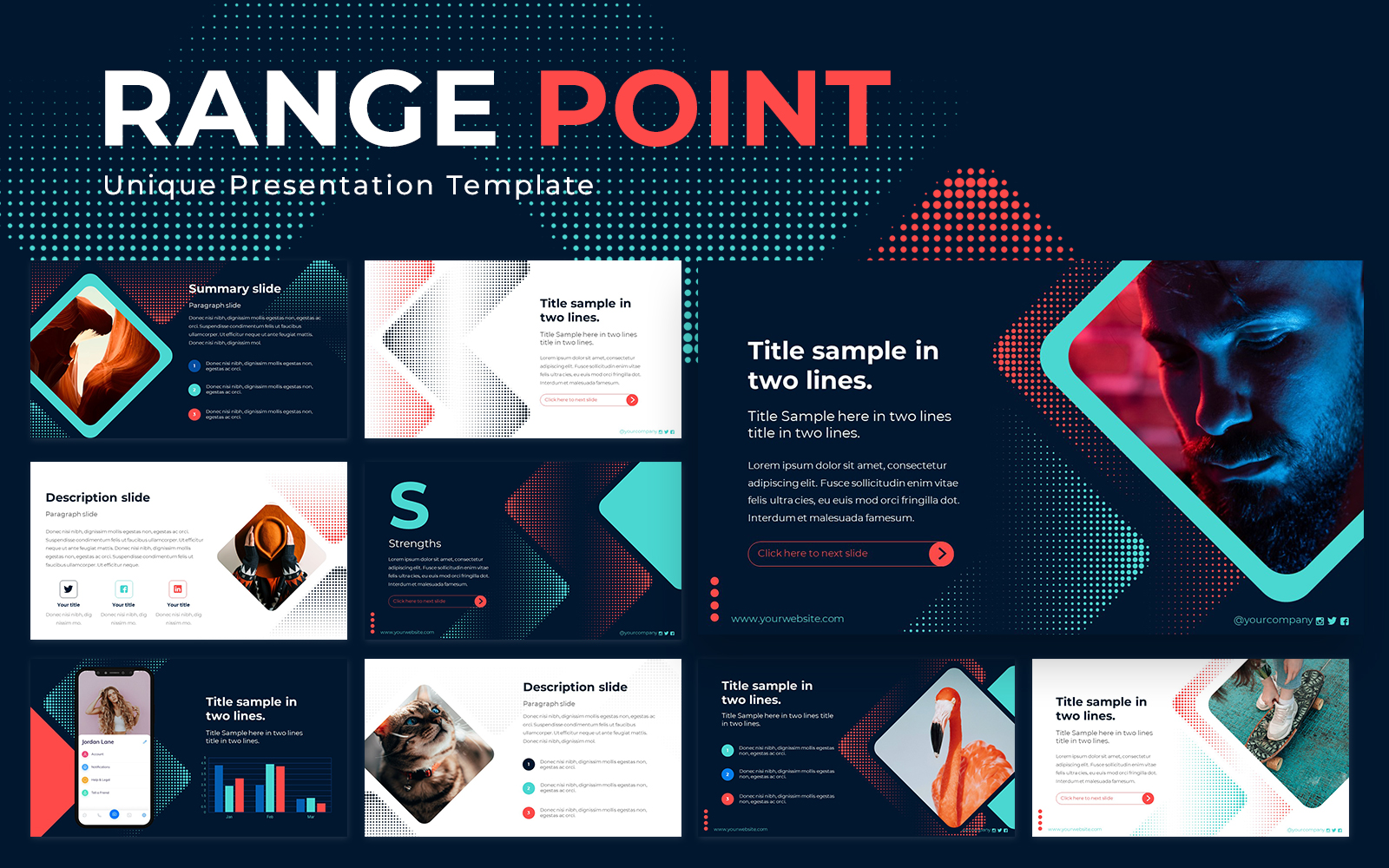 Range Point Powerpoint Presentation Template