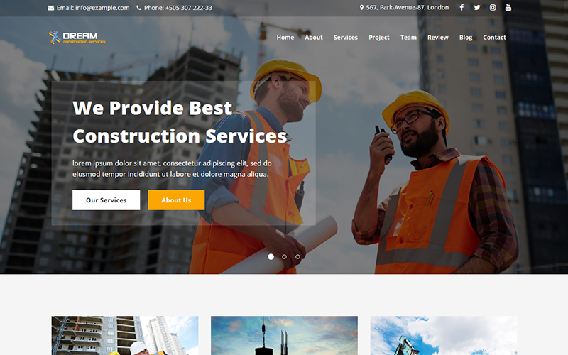 Dream - Construction Landing Page Template