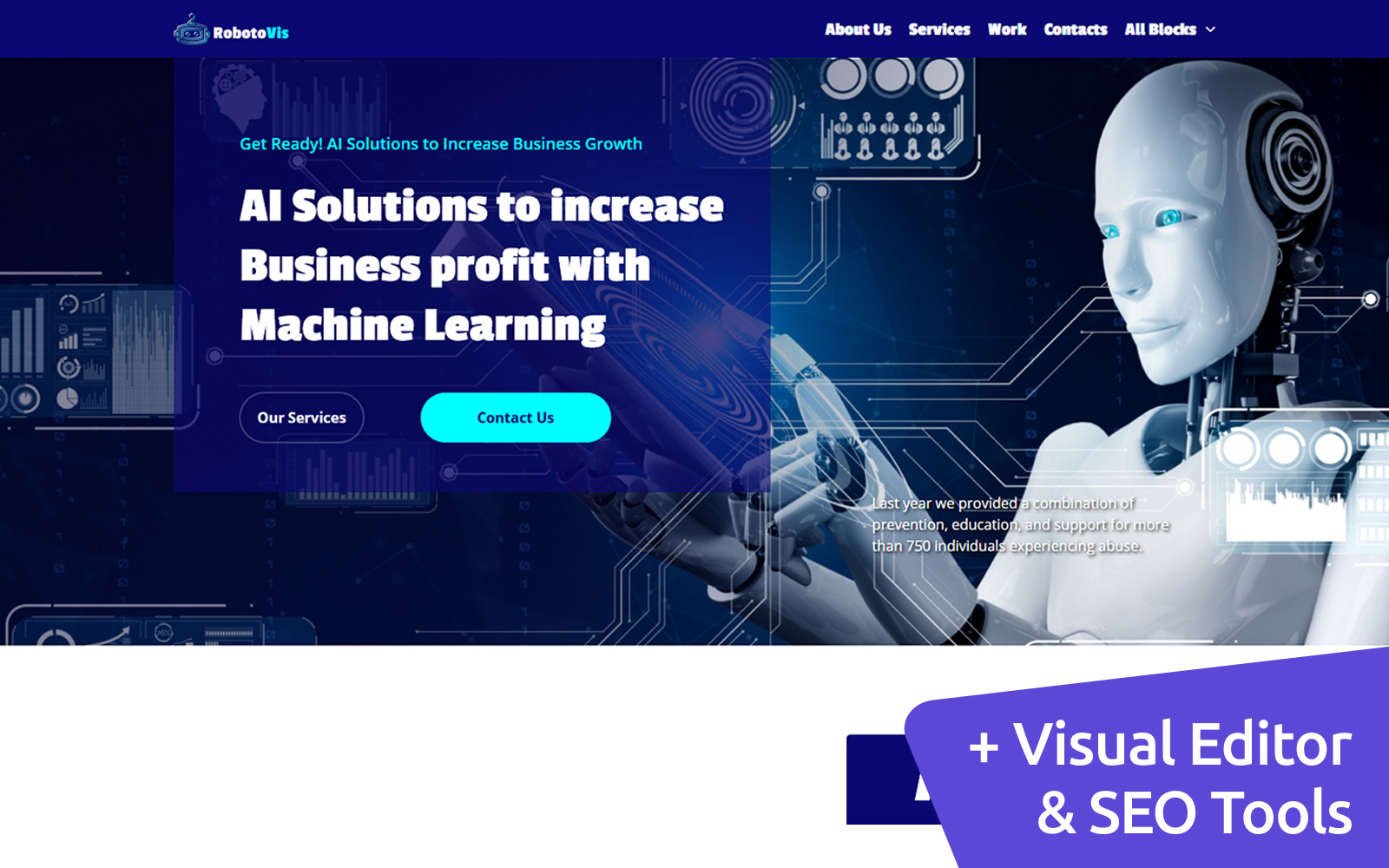 Robotics Moto CMS Landing Page Template