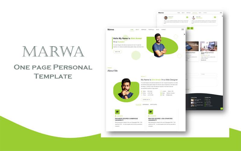 Marwa  Personal Portfolio Landing Page Template