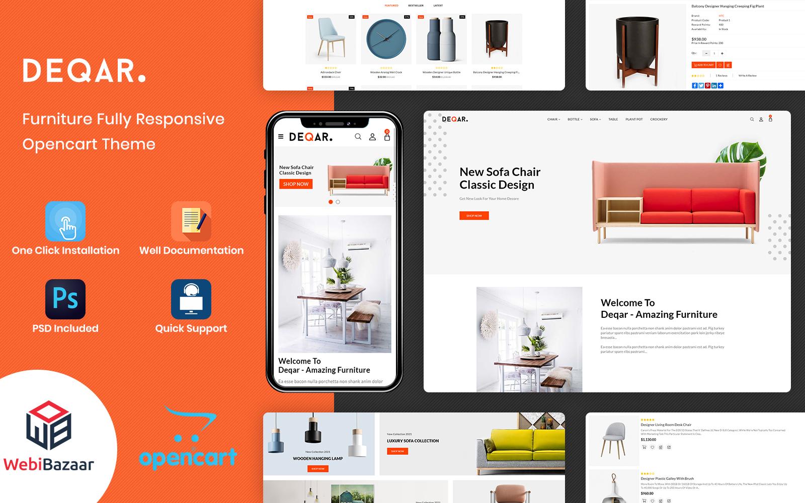 Deqar -  The Furniture Shop Responsive OpenCart Template