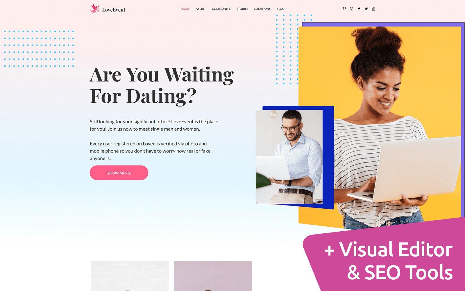 Online Moto CMS Premium Dating Website Template
