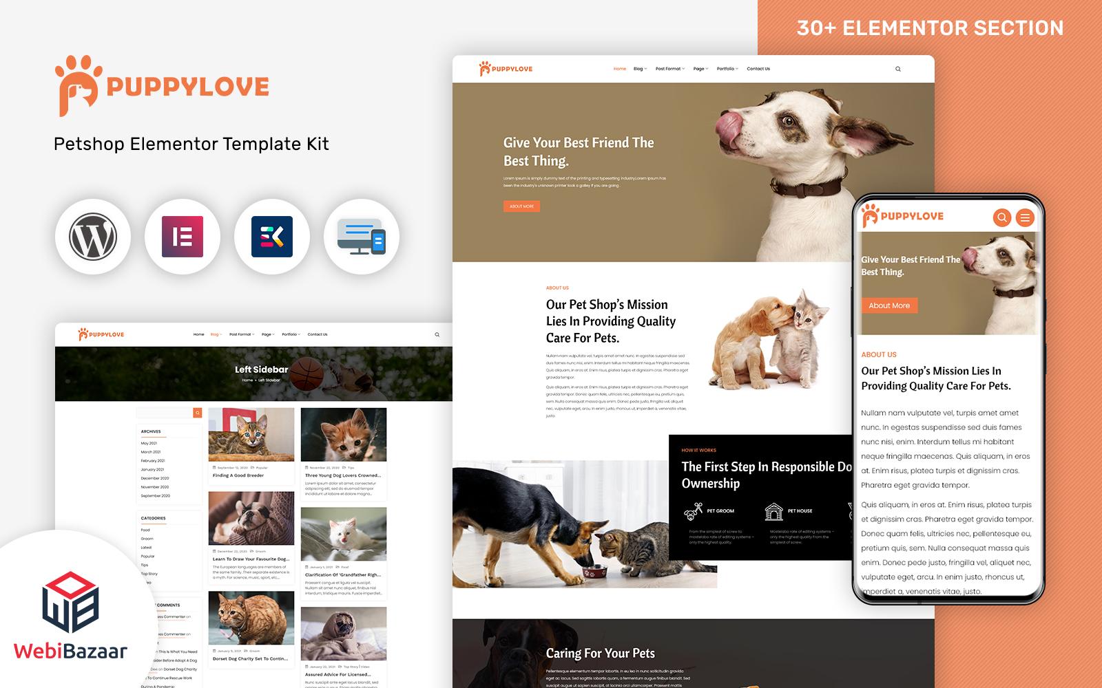 PuppyLove -  Pet Services Multipurpose WordPress Elementor Theme