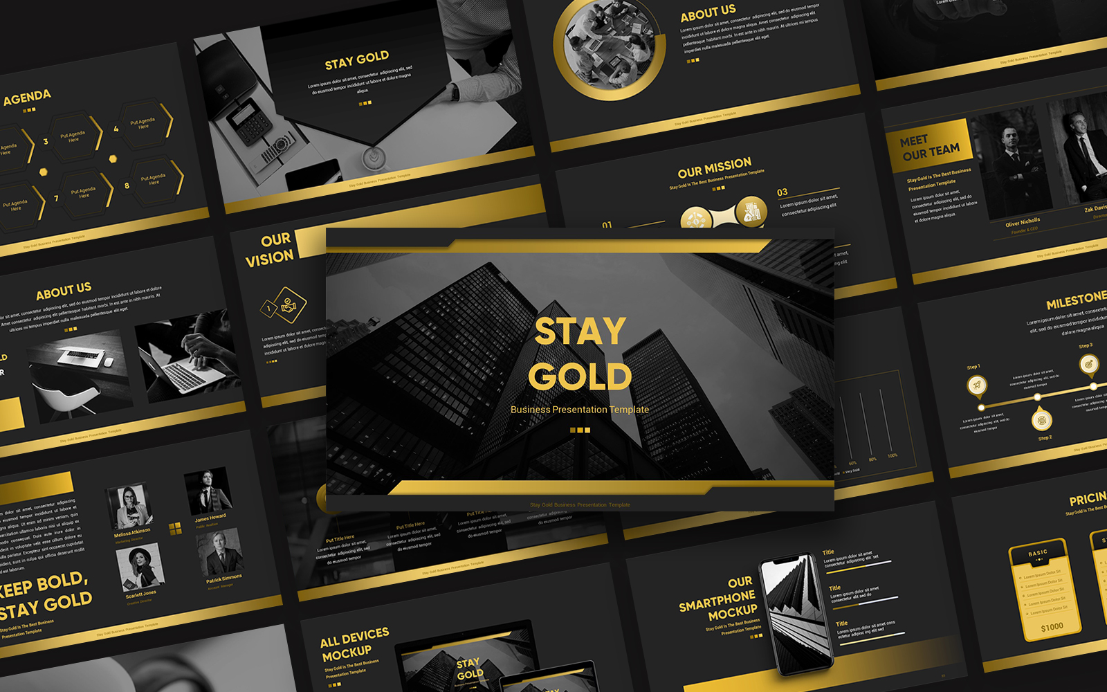 Stay Gold Business Presentation PowerPoint Template