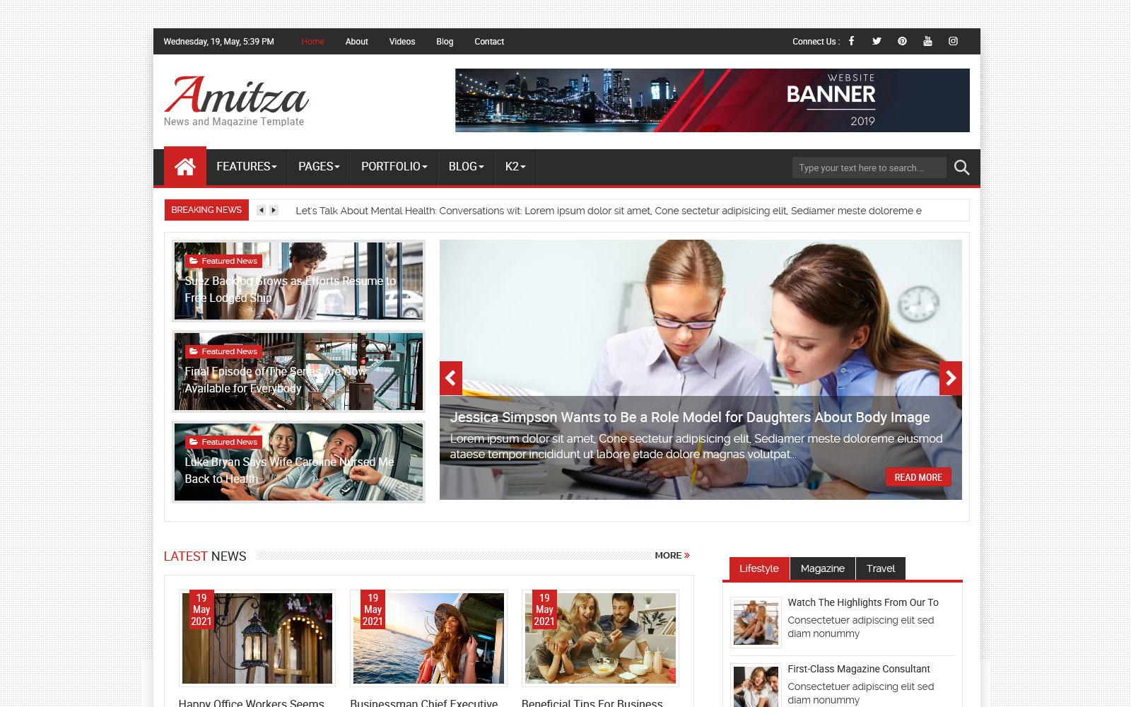 Amitza News and Magazine Joomla Template
