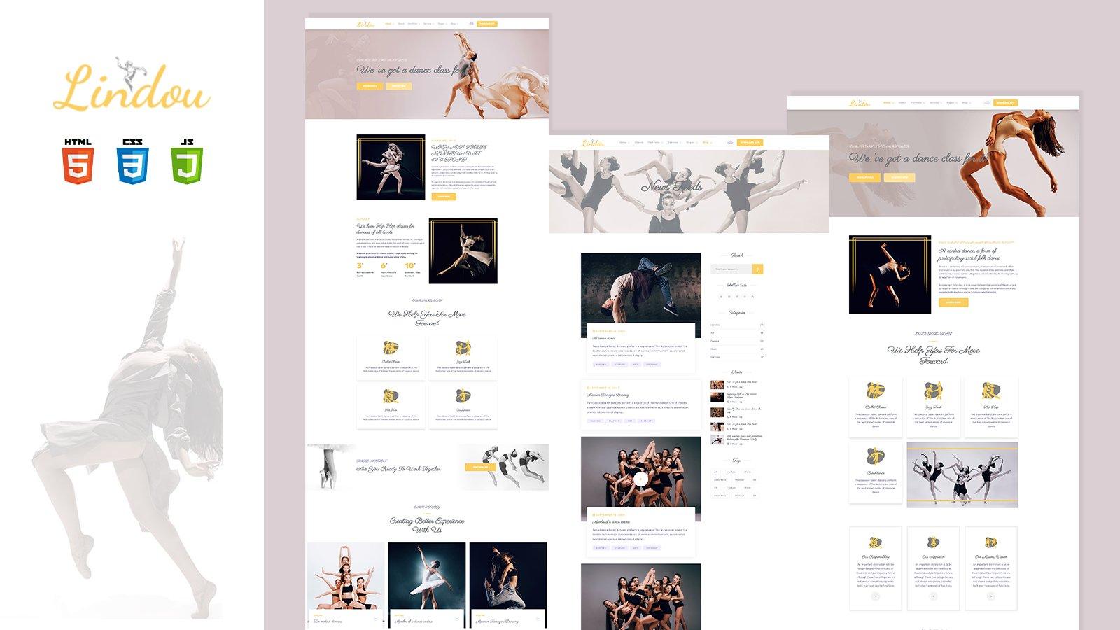 Lindou Dancing school Studio HTML5 Template