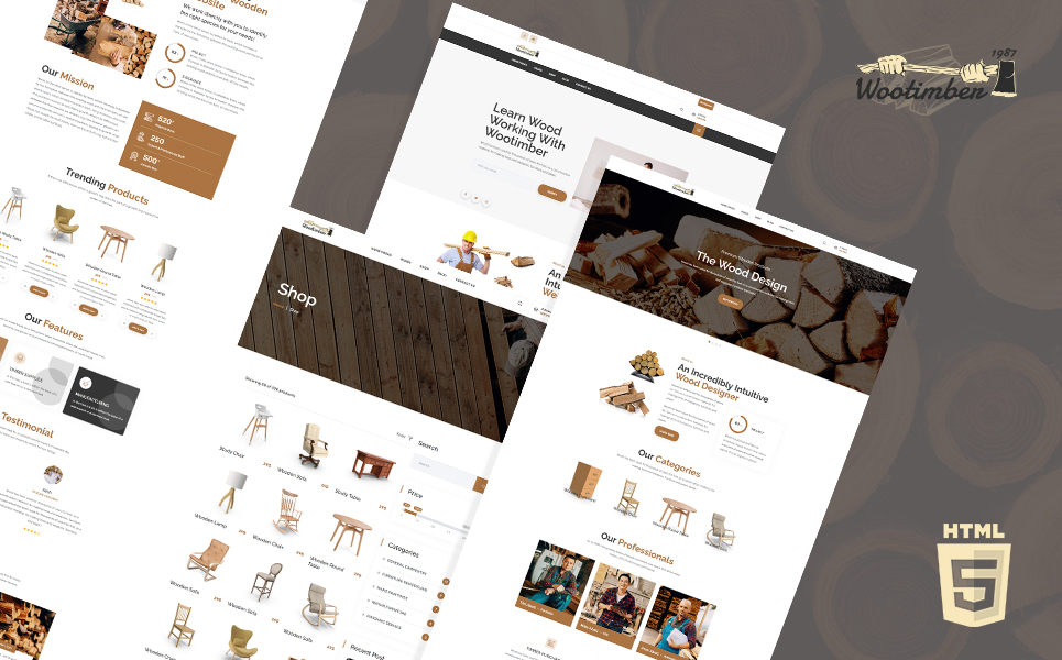 Wootimber Carpenter Wood Shop HTML5 Website Template