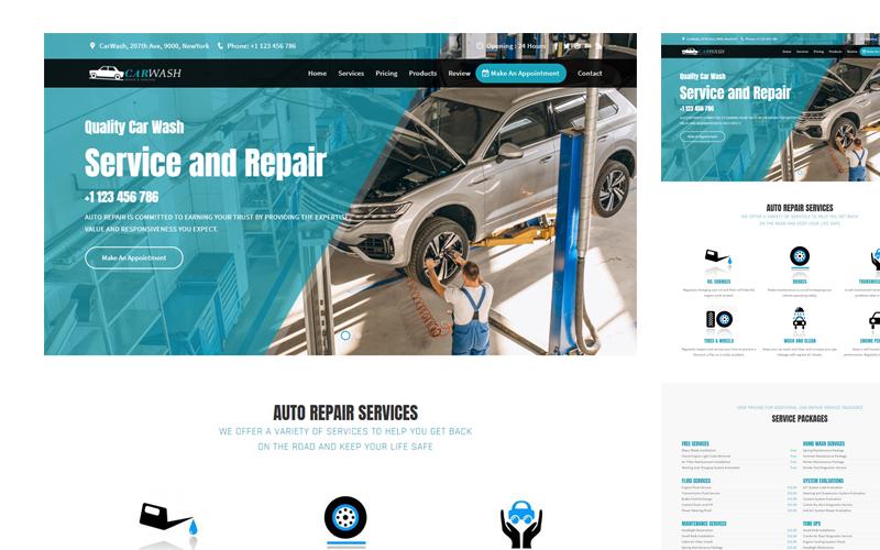 CarWash Car Repair Responsive Landing Page Template