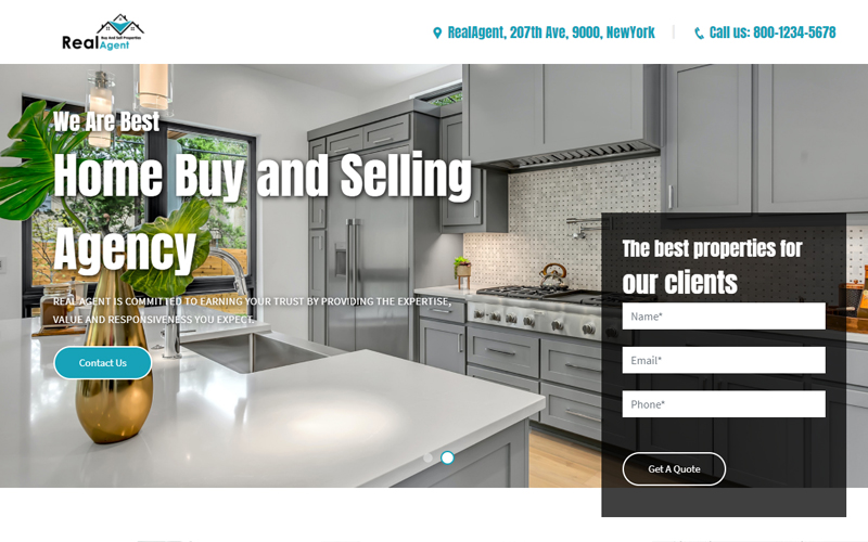 RealAgent - Real Estate Agency Landing Page Template