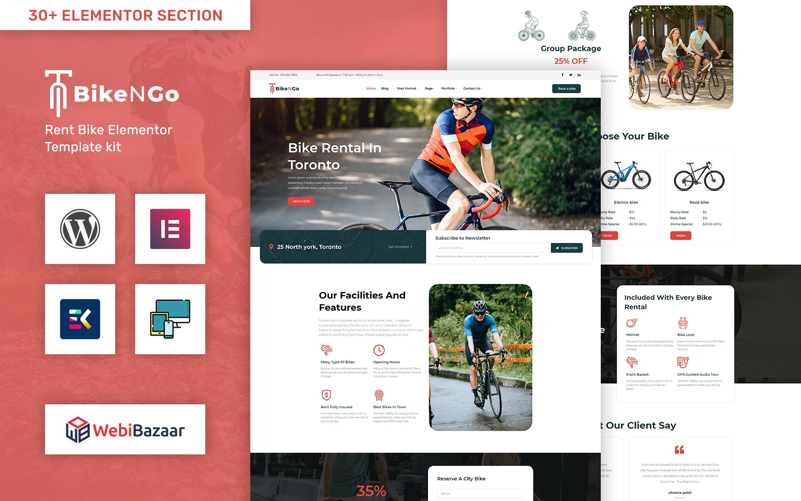 Bikengo - Bike Rental and Shop WordPress Theme