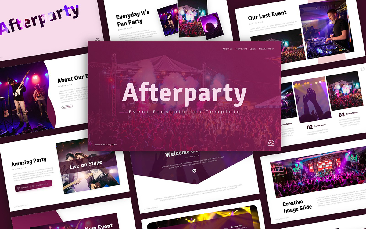 Afterparty Event Presentation PowerPoint Template