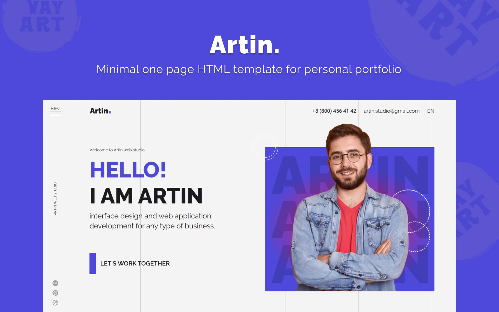 Artin - Personal Portfolio Website  Template