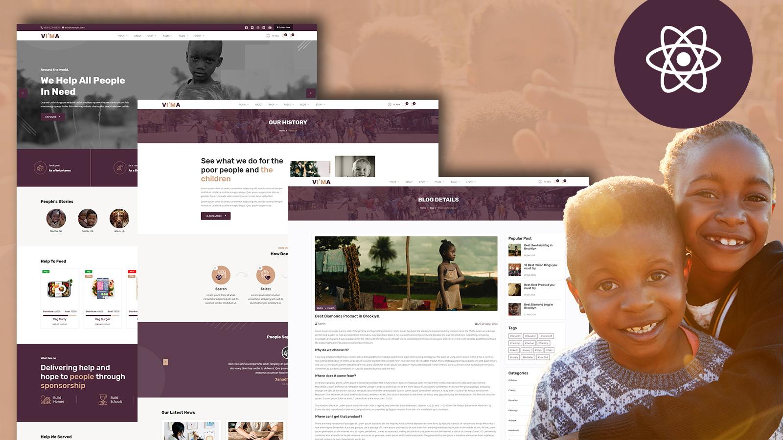 Vima NonProfit Fundraising Charity React JS Website Template