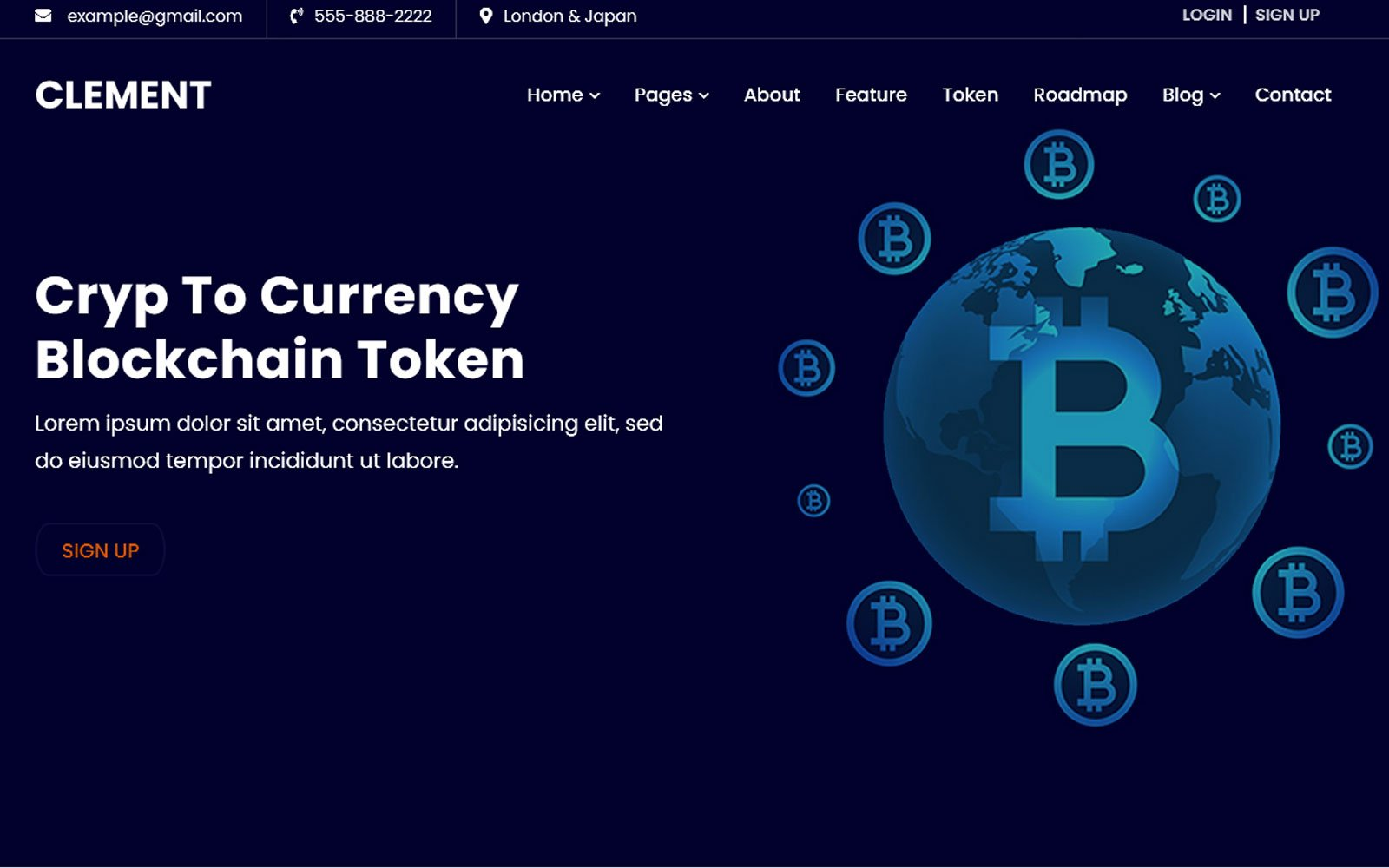 Clement -ICO Bitcoin & Cryptocurrency Website Template
