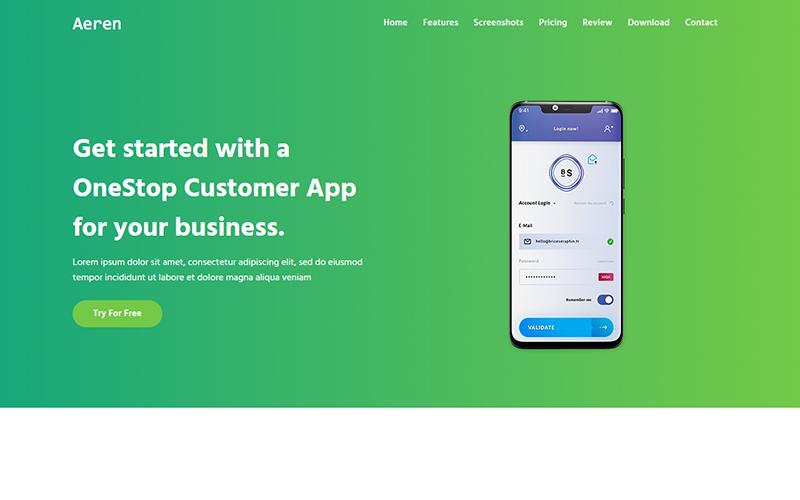 Aeren - App Landing Page Template