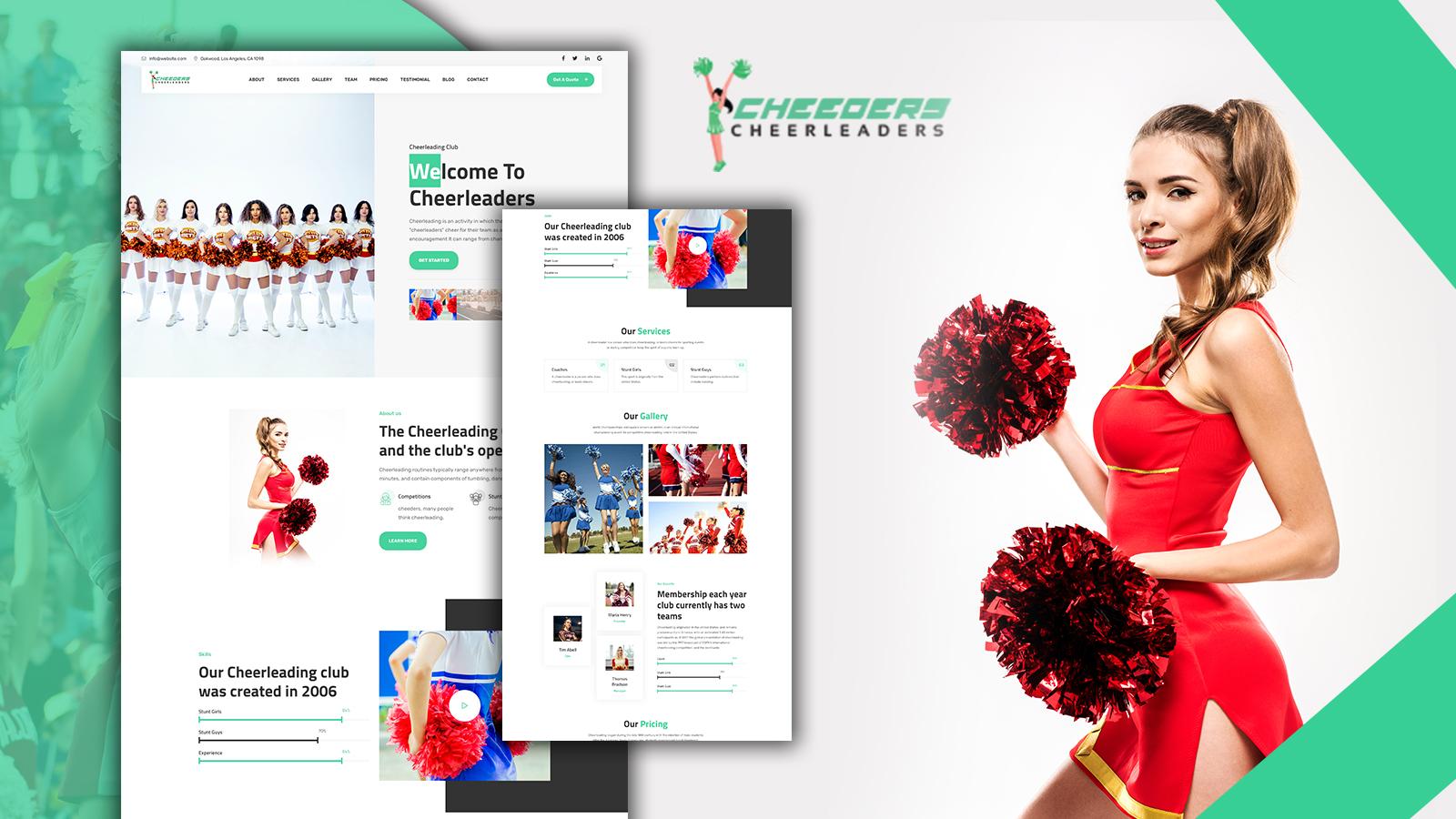 Cheeders Clean & Easy Cheerleaders Landing Page HTML5 Template