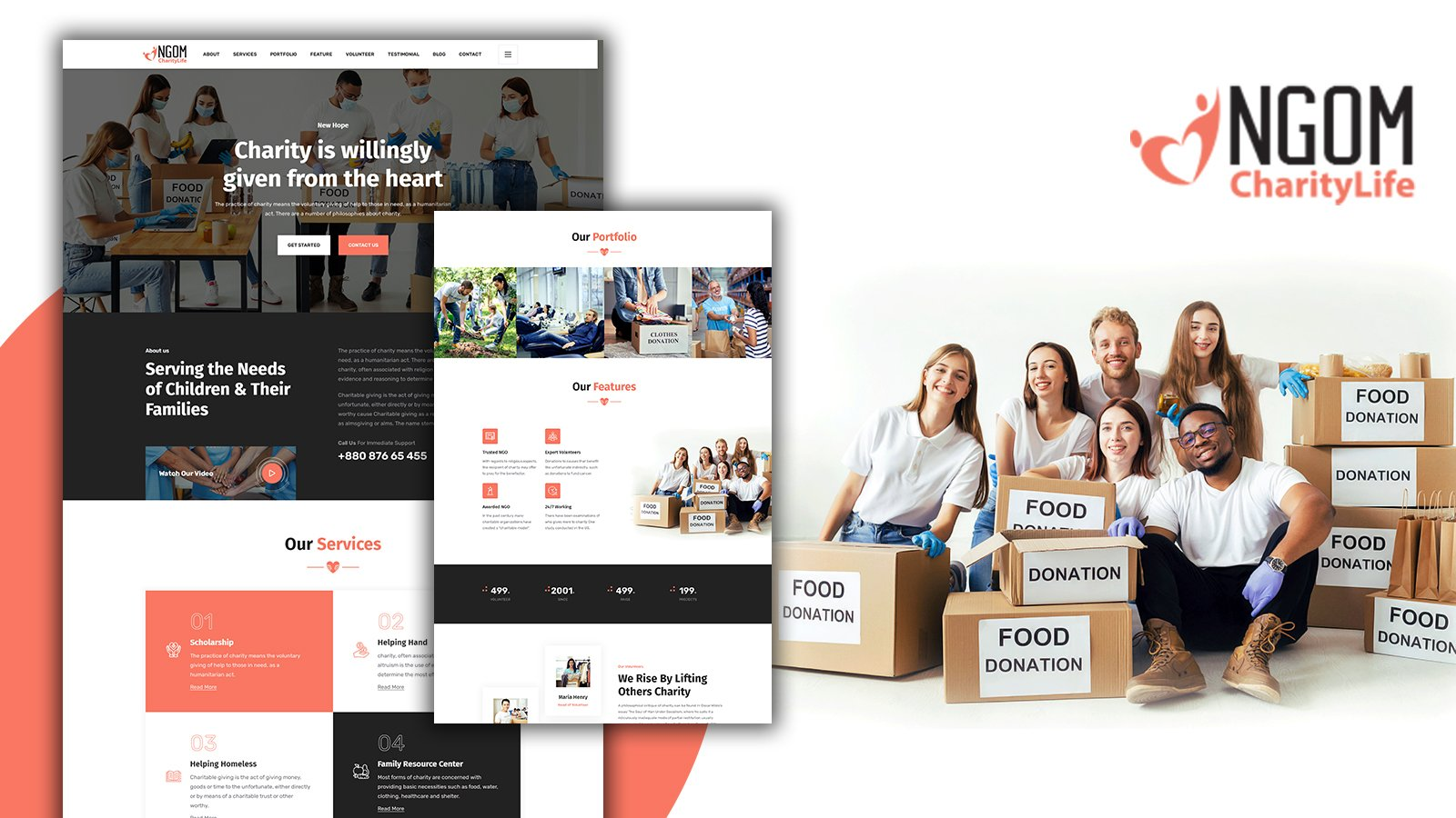 Ngom Nonprofit Donation Landing Page HTML5 Template