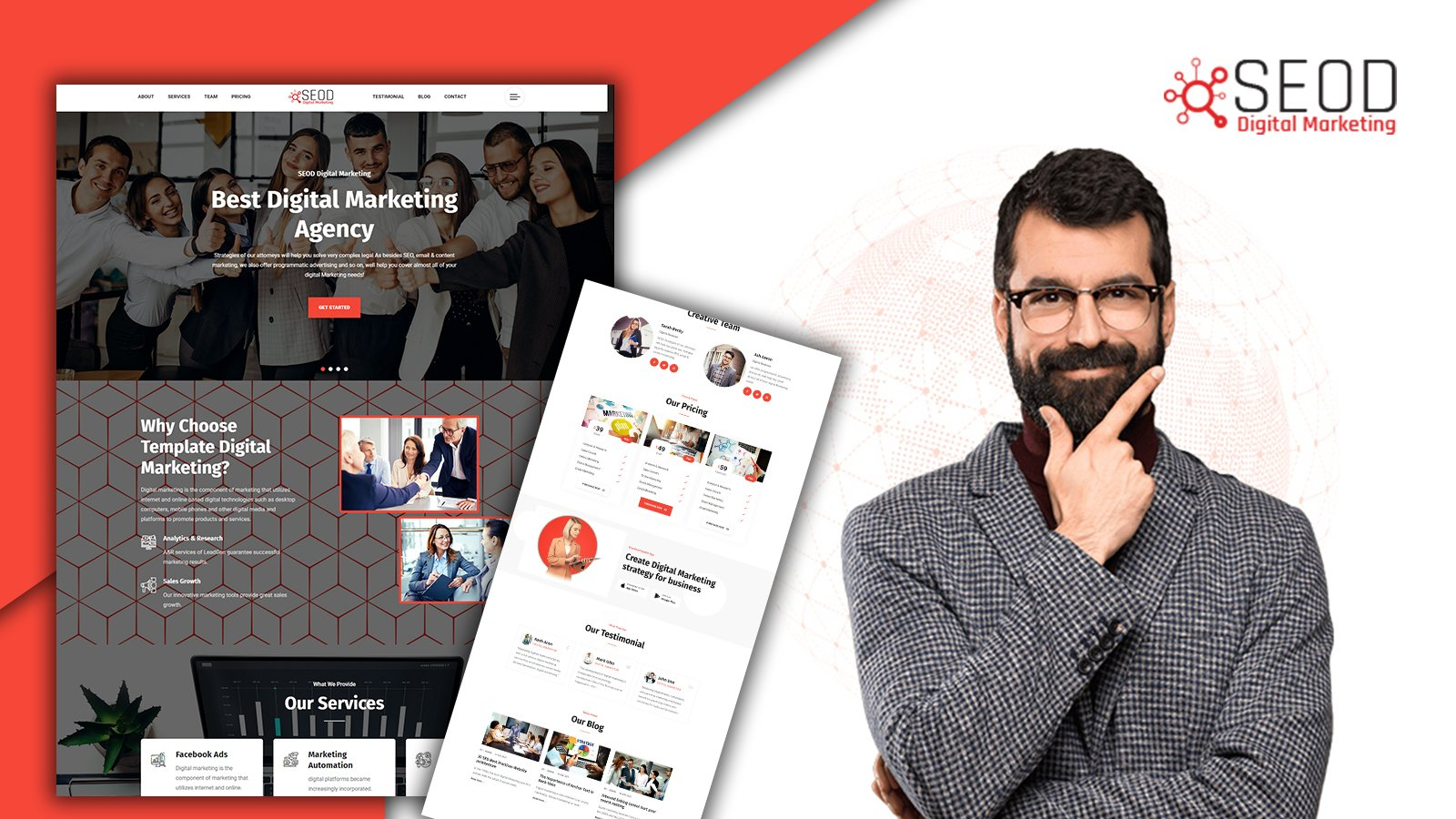 Seod Digital Agency Responsive Landing Page HTML5 Template