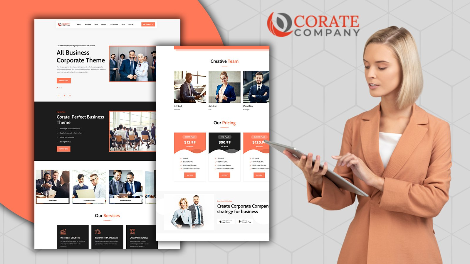 Corate Responsive Corporate Landing Page HTML5 Template