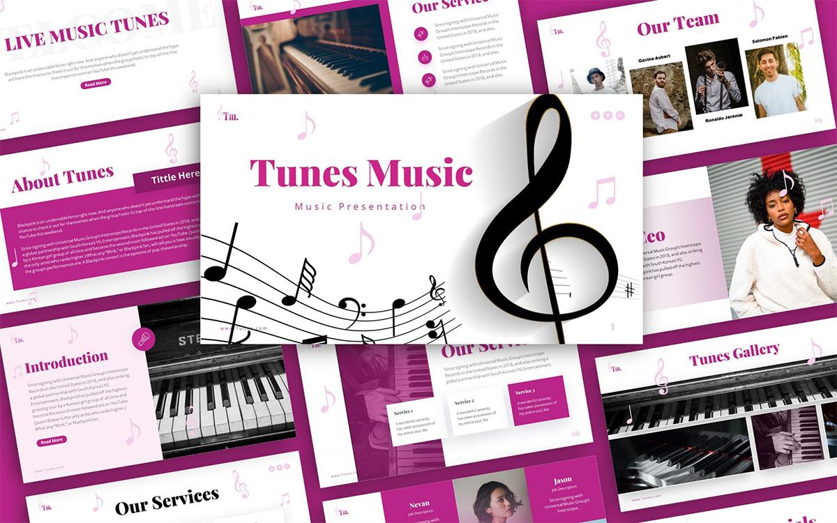 Tunes Music Presentation PowerPoint Template