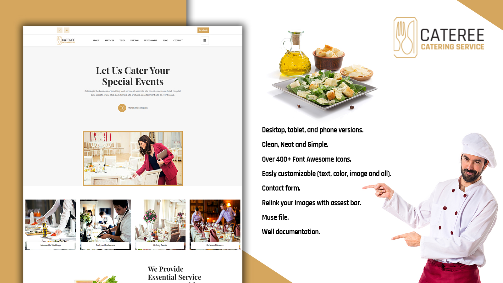 Cateree - Catering Services HTML5 Landing Page