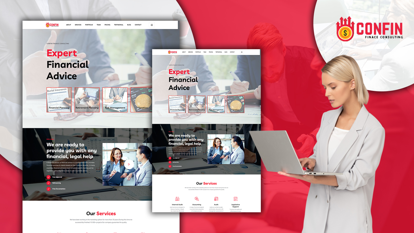 Confin - Financial Services HTML5 Landing Page Template