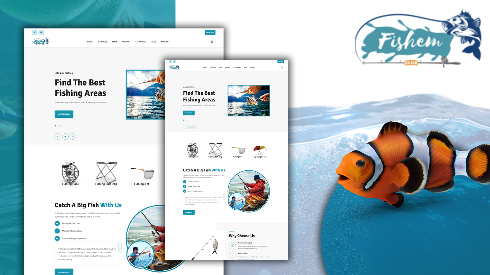 Fishem - Fishing HTML5 Landing Page Template